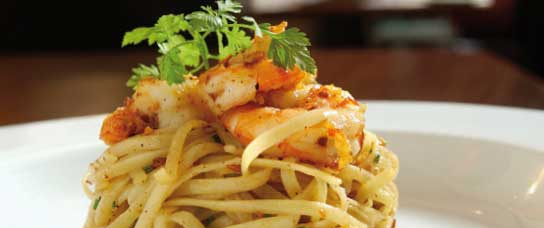 Spaghetti con ricotta e gamberoni