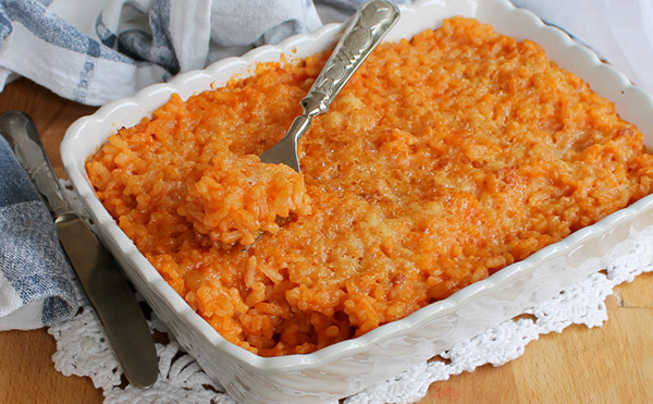 Gratin di riso al forno