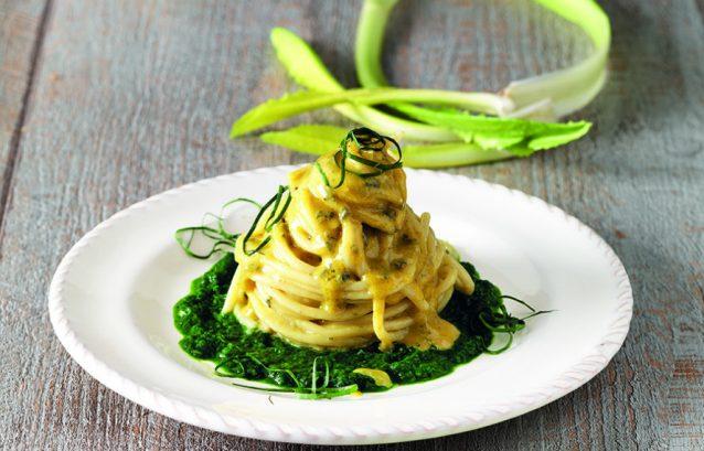Spaghetti al gorgonzola e catalogna